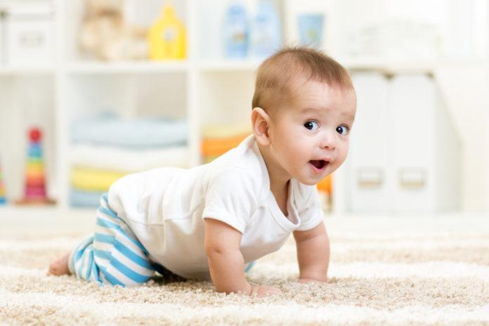 Dziecko raczkuje po dywanie
