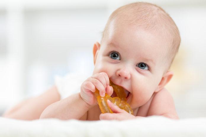 ząbkujące niemowlę z gryzakiem w buzi