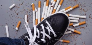 but depczący rozsypane papierosy