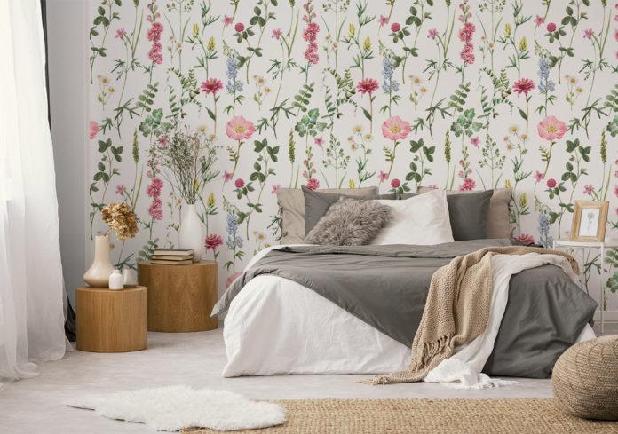 Fototapeta kwiaty w sypialni