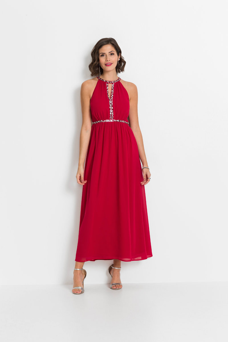 czerwona długa sukienka na wesele