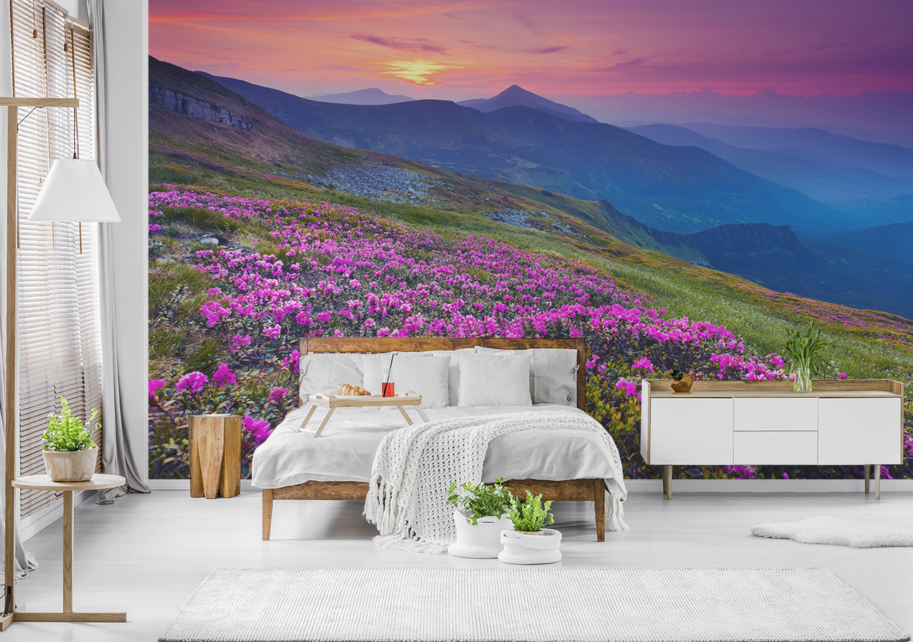 Fototapeta kwiaty i góry