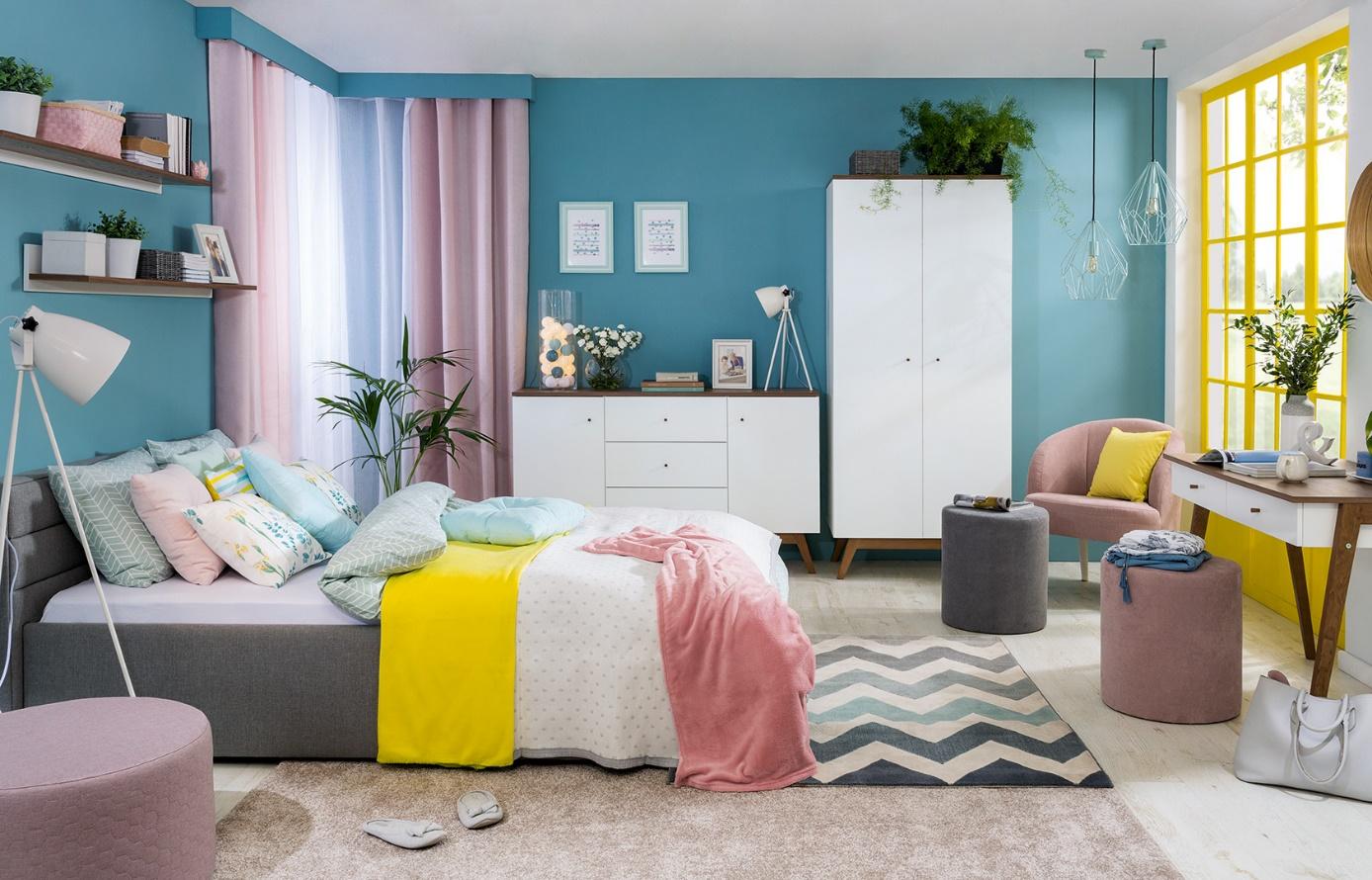 sypialnia singla kolorowy wystrój