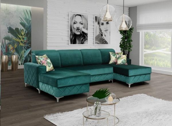 nowoczesny salon zielona kanapa