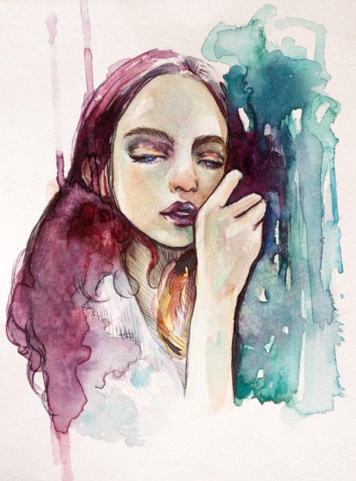 pastelowy obraz kobieta smutna