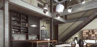 Loft - nowoczesne wnętrze w industrialnym stylu zaprojektowane jako mieszkanie o otwartym planie z kuchnią, jadalnią, pokojem dziennym oraz domowym biurem na parterze i sypialnią na antresoli.