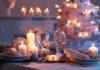 świąteczny obrus biały, stół świąteczny biała choinka