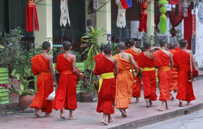 mnisi w luang prabang, laos