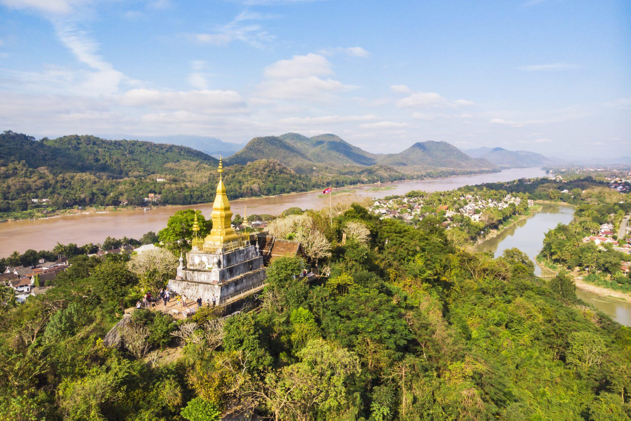 pagoda Wat Chom Si na górze Phou Si, Luang Prabang, Lao