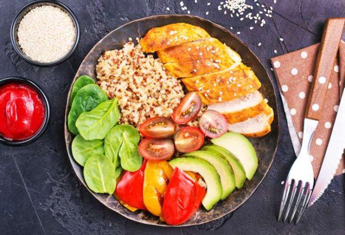 zdrowa dieta talerz z jedzeniem