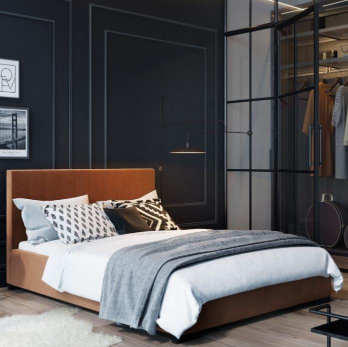 gustowne łóżko w sypialni