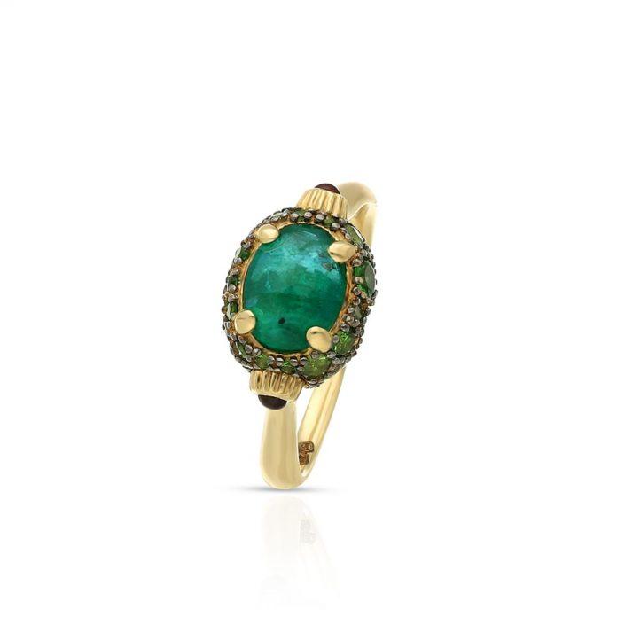 złoty pierścionek z zielonym kamieniem